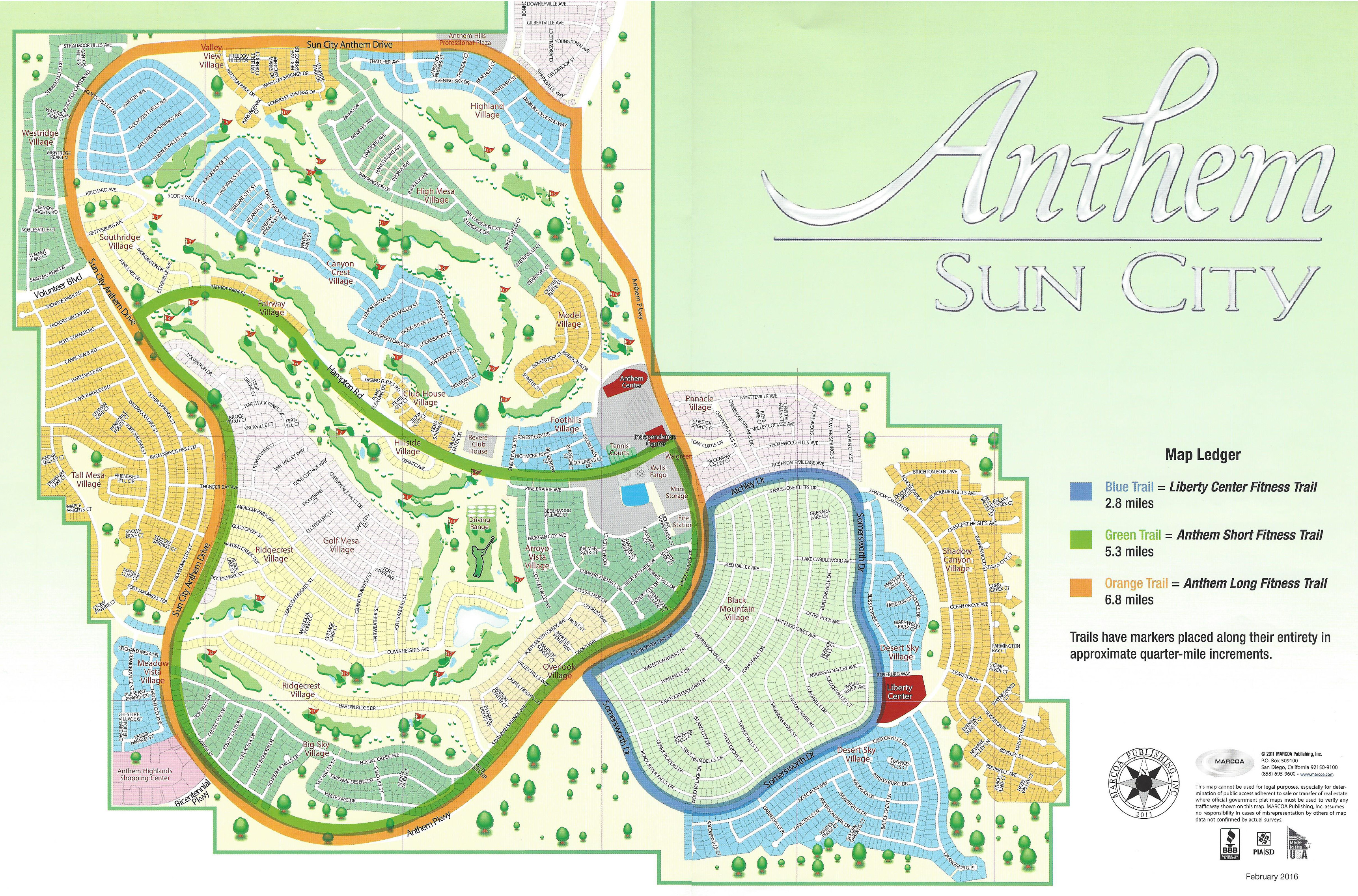 Sun City Anthem Villages Map - Las Vegas Real Estate